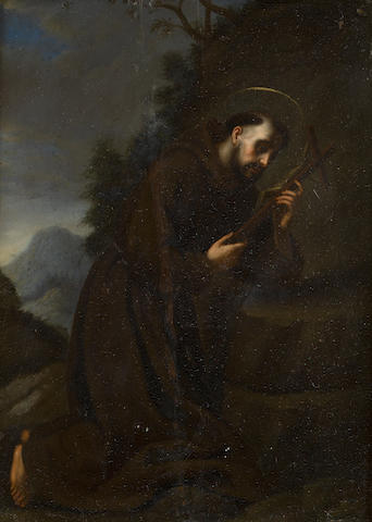 Florentine School, 17th Century Saint Francis adoring the Crucifix