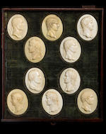Circle of Giovanni Battista Pozzi (Italian circa 1670-1752) A collection of forty four mid 18th century ivory reliefs of Roman Emperors
