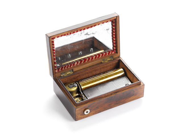A small musical box, playing two airs, by H. Würtel, circa 1855, Stamped H. MG
