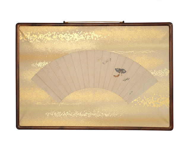 Two urushi (lacquer) fans paintings By Shibata Zeshin (1807-1891), late Edo Period