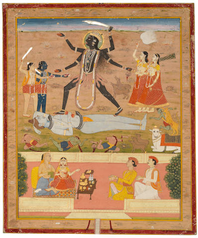 The goddess Kali, with devotees and supplicants Jaipur, circa 1800
