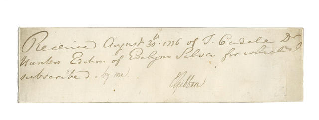 GIBBON (EDWARD) Book receipt signed, 1776