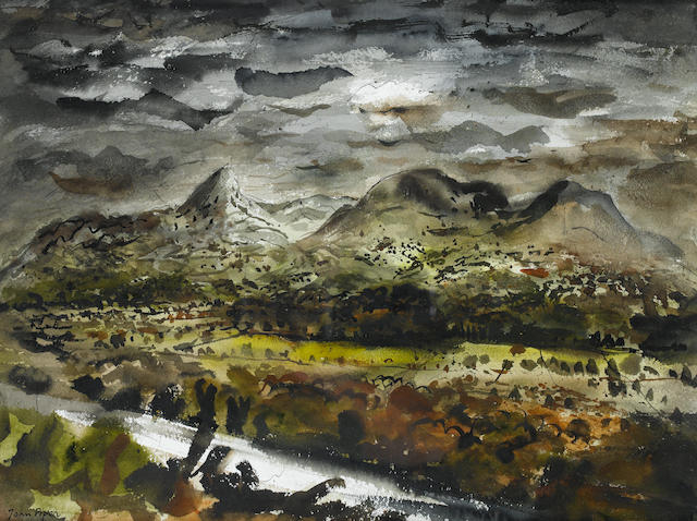 John Piper C.H. (British, 1903-1992) Mountain landscape 37 x 50 cm. (14 1/2 x 19 3/4 in.)