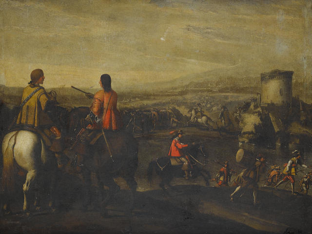 Circle of Aniello Falcone (Naples 1607-1656) Officials on their horses with a cavalry skirmish in the distance