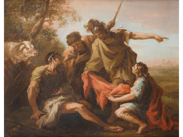 Follower of Giovanni Antonio Pellegrini (Venice 1675-1741) Cincinnatus abandoning his plough for the Roman dictatorship
