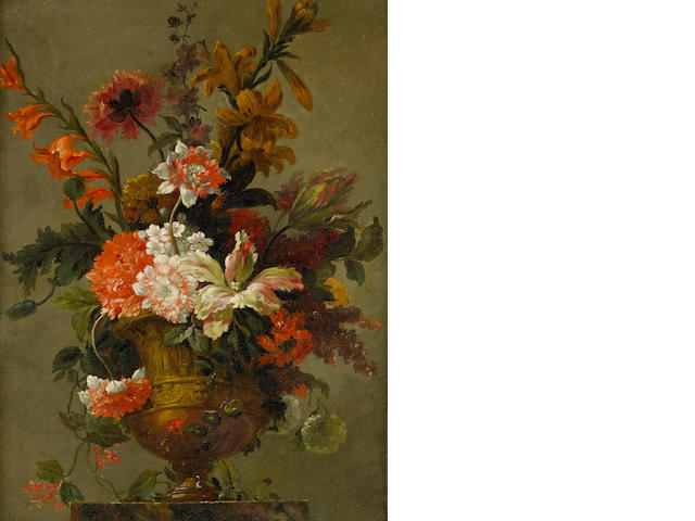 Venetian School, 18th Century Lilies, chrysanthemums, tulips and other flowers