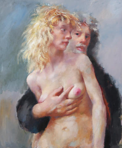 Robert O. Lenkiewicz (British, 1941-2002) 'The painter and Patti'