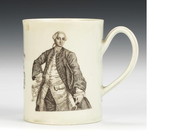 A Worcester mug, 'Admiral Boscawen'