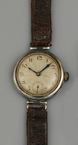 Rolex: An early silver cased  mid sized wristwatch London import marks for 1922