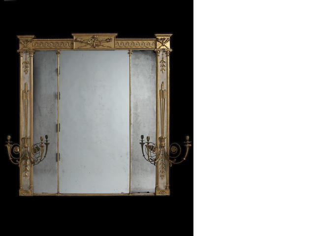 A George III carved giltwood and cream painted overmantel mirror/girandoleattributed to Gillows