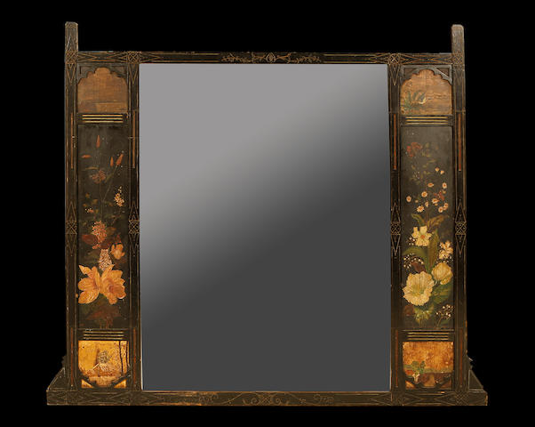 A late Victorian Aesthetic Movement black and polychrome painted overmantel mirror