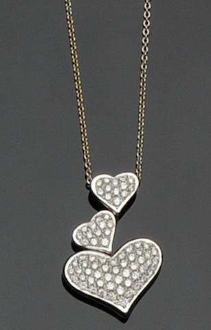 A diamond set heart necklace