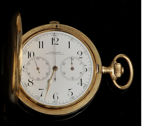 Longines: A hunter keyless chronographer pocket watch
