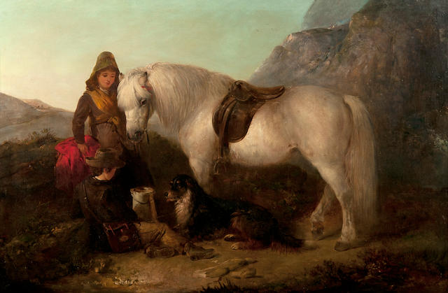 Edward Robert Smythe (British, 1810-1899) Girl and boy with a grey pony and a dog in an upland