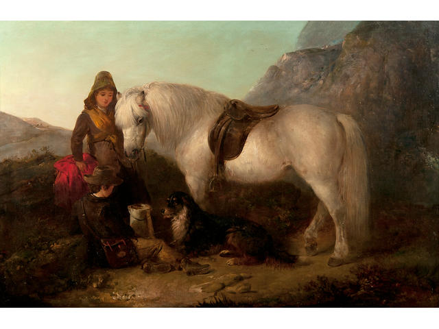 Edward Robert Smythe (British, 1810-1899) Girl and boy with a grey pony and a dog in an upland landscape