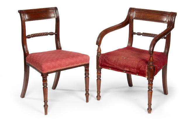 A matched set of eight Regency mahogany dining chairs