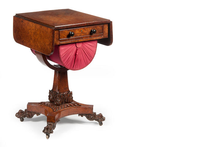 A William IV burr yew Pembroke sewing table