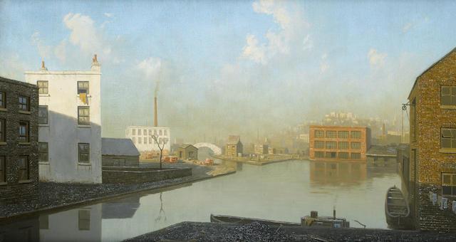 Algernon Cecil Newton (British, 1880-1968) Canal Basin 50 x 90 cm. (19 3/4 x 35 1/2 in.)