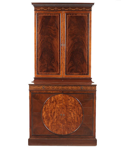 A George III mahogany, sycamore, satinwood and marquetry estate cabinet attributed to John Linnell