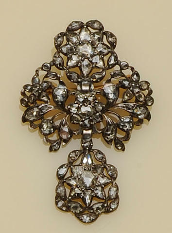 An early 19th century Portugese rose-cut diamond set 'laca' brooch/pendant