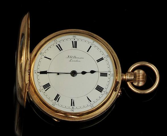 J W Benson: An 18ct gold keyless wind half hunter pocket watch