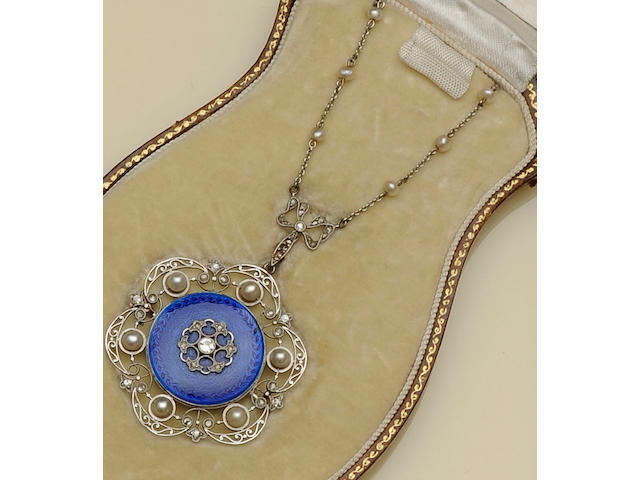 A diamond, pearl and enamel pendant