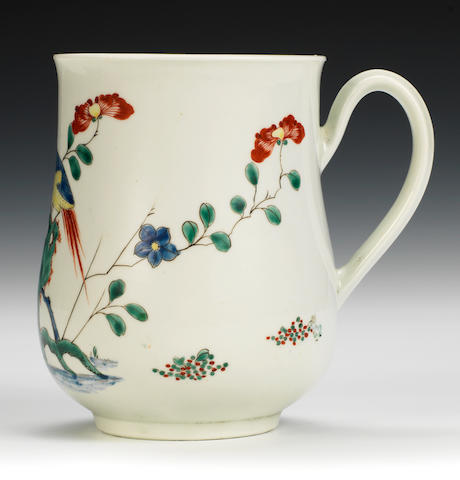 A remarkable Worcester mug, circa 1753-4