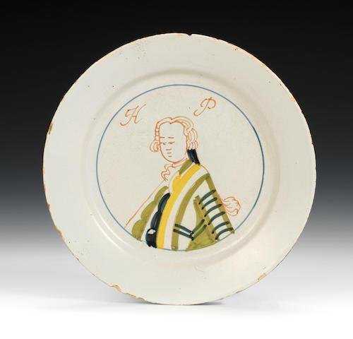 Rare 18th c glazed earthenware plaque