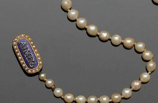 A cultured pearl graduated single row necklace