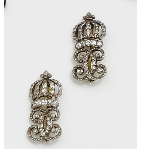 A pair of French early 19th century Coronation diamond brooches