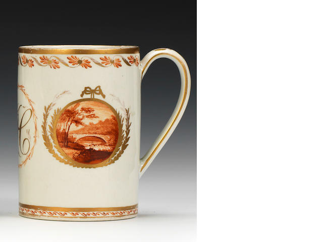 An important English Porcelain mug painted by William Billingsley