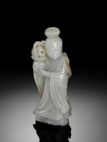 A white jade standing lady Qianlong/Jiaqing