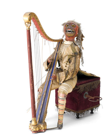 A musical monkey harpist automaton, by Theroude,  French, circa 1880,
