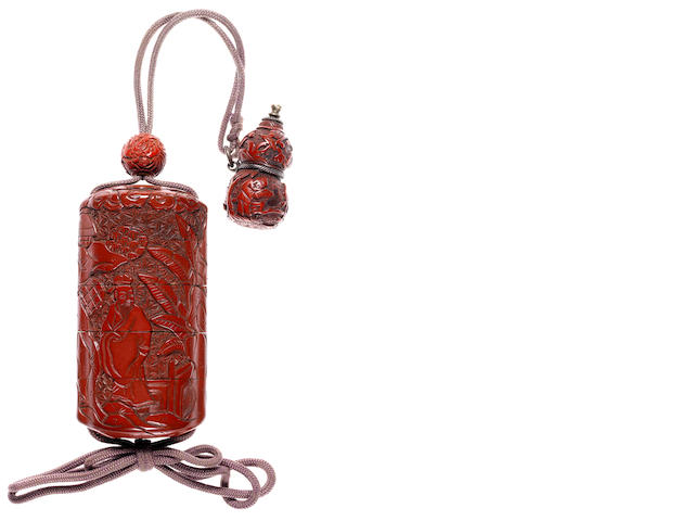 A tsuishu (carved red lacquer) four-case inro 19th century