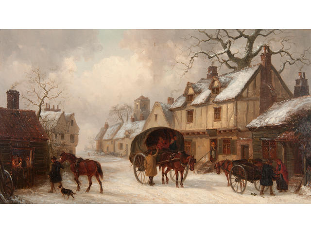 Thomas Smythe (British, 1825-1906) Carts in a village street in the snow, a forge to the left