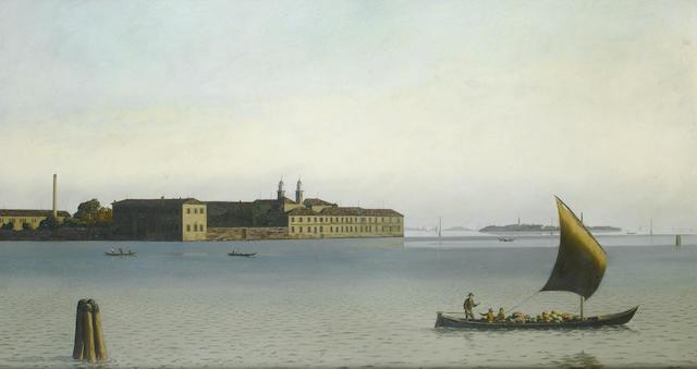 Algernon Cecil Newton (British, 1880-1968) Isle of San Clemente, Venice 51 x 93 cm. (20 x 36 1/2 in.)