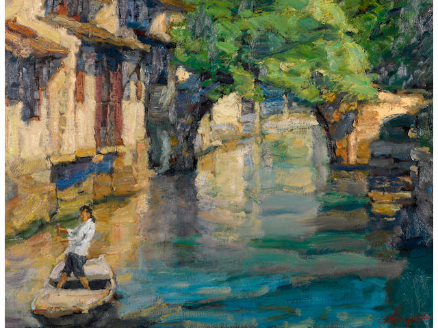 Chen Yifei (1946-2005) Boating Under the Bridge