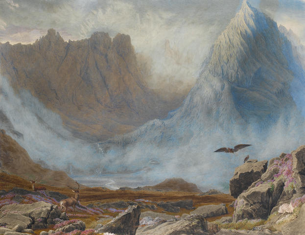 William Turner of Oxford, OWS (British, 1789-1862) Loat o'Corry and Hart o'Corry near the highest peaks of the Cuchullins, Isle of Skye.