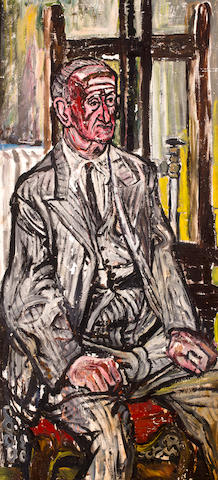 John Bratby R.A. (British, 1928-1992) Male model against easel 137 x 65 cm. (54 x 25 1/2 in.)