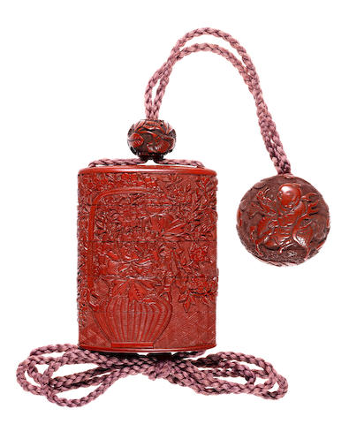 A tsuishu (carved red lacquer) four-case inro By Yosei, 19th century