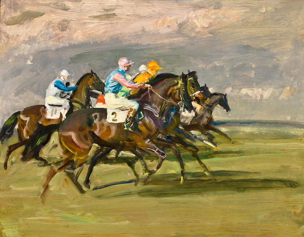 Sir Alfred James Munnings P.R.A., R.W.S. (British, 1878-1959) The Start 40.5 x 50.7 cm. (16 x 20 in.