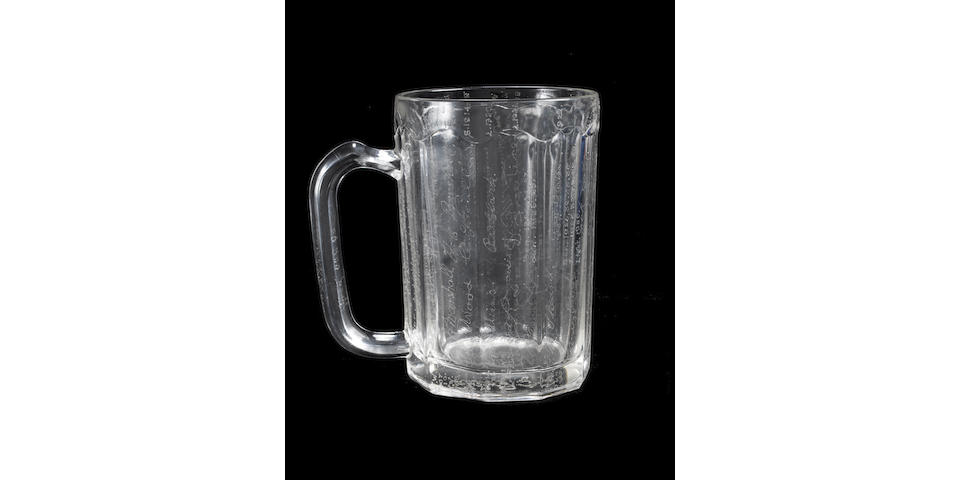 Bob Foster's glass tankard bearing hand-engraved signatures of all living TT Winners from 1907 to 1952, ,