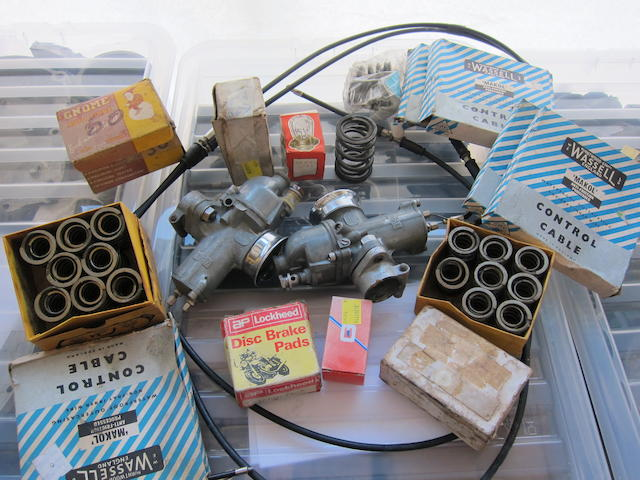A pair of Amal 928 carburettors and other spares,
