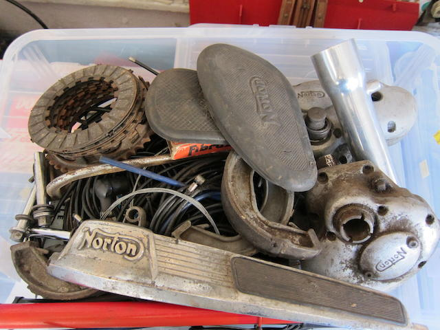 An assortment of Norton spares,