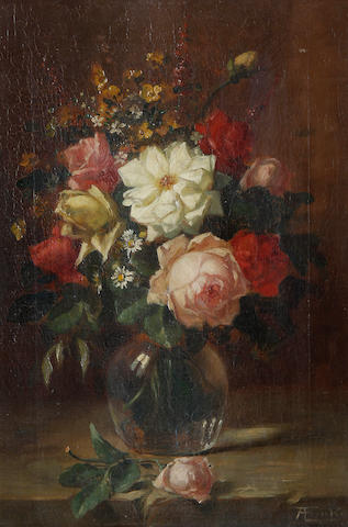 Continental School Still life of Vase with flowers