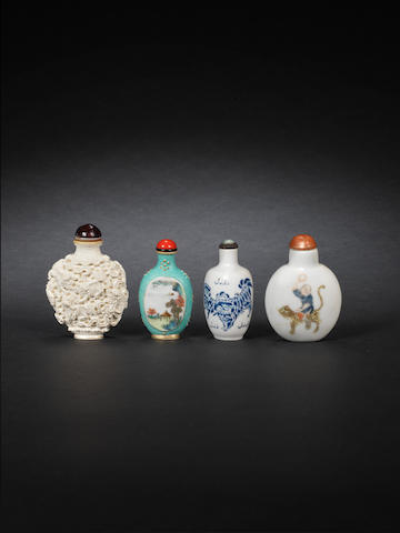 Four porcelain snuff bottles Qing Dynasty