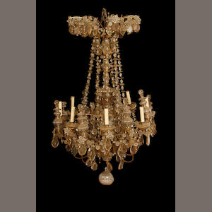 A large early 20th century cut glass and gilt metal chandelier