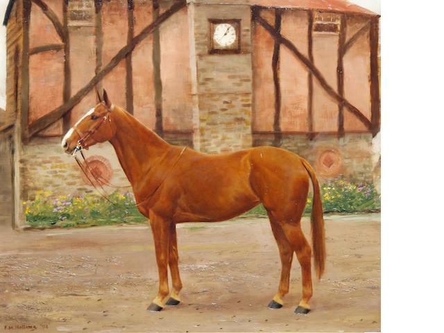 Frances Mabel Hollams (British, 1877-1963) A chestnut hunter in a tudor yard