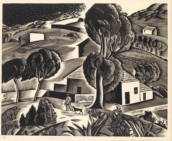 Iain MacNab (British, 1890-1967) Corsican Landscape Wood engraving, on wove, signed, titled and numbered 7/40 in pencil, 200 x 253mm (7 7/8 x 10in)(I)