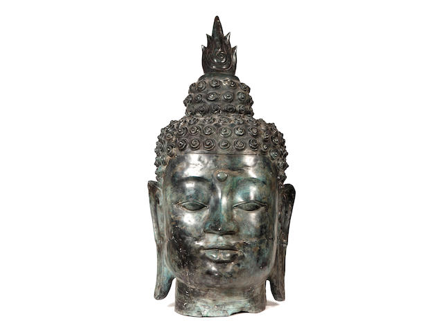 A large Thai bronze head of a Buddha